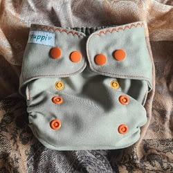 Pannolino lavabile in lana Puppi cover snaps grey sand