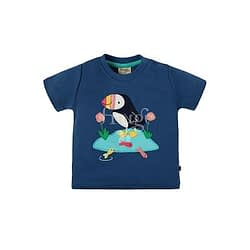 T-shirt frugi con applique marine blue puffin