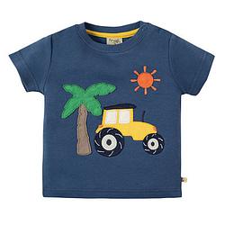 T-shirt Frugi Little creature applique marine blue tractor