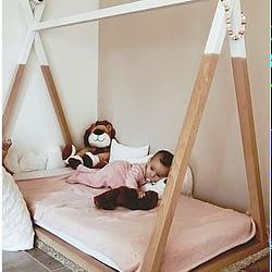 Letto montessoriano childhome in legno di faggio struttura teepee 140x70