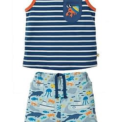 Completino frugi summertime outfit marine life cotone organico